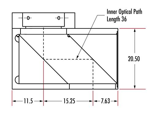 15.25mm Optical Axis Offset Prism Adapter (Units: mm)
